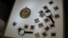 """picture negatives and magnifying glass to """"look"""" at the pictures!"""