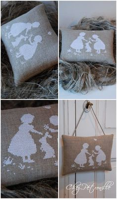 coussin_lin_enfants - white cross stitch on linen? How beautiful!