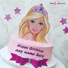 Write name on Barbie Doll Birthday Cake Design with Name with Name And Wishes Images and create free Online And Wishes Images with name online.