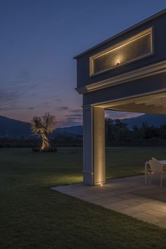 Private house in Iseo, Brescia, Italy. Featured products by L&L Luce&Light: Lyss projector, Bright recessed External Lighting, Indirect Lighting, Interior Led Lights, Landscape Lighting Design, Facade Lighting, Led Light Fixtures, Building Facade, Light Architecture, Facade Design