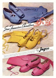 purple pink yellow wedge sandals Vibrantly hued shoes with matching belts and handbags from Joyce, 1940s Shoes, Vintage Shoes, Vintage Ads, Vintage Style, 1940s Fashion, Vintage Fashion, Mens Fashion, Shoes Ads, Shoes