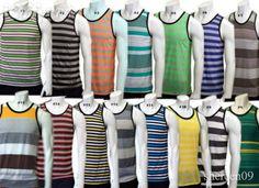 Mens Tank Tops, Made in USA, stripes. Premium CHOOSE#