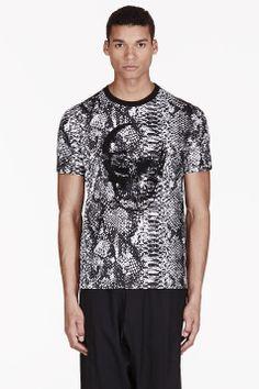 MARKUS LUPFER Black & White Python Sequin Skull T-shirt