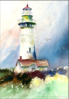 """""""Newport Light"""" - Watercolor painting by Michael David Sorensen. This is Yaquina Head Lighthouse in Newport, Oregon. Watercolor Pictures, Watercolor Landscape, Watercolour Painting, Painting & Drawing, David Painting, Watercolours, Watercolor Sea, Lighthouse Painting, Lighthouse Decor"""