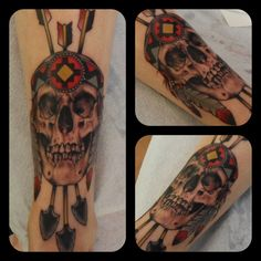 native american skull tattoo. done at Thicker Than Water in NY.