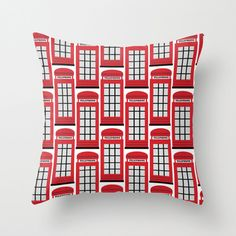 Throw Pillow Cover - London Telephone Box - Red White Black - 16x16, 18x18, 20x20 - Nursery Bedroom Design Home Décor by Adidit