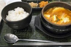 Traditional Korean breakfast is seaweed soup with turnip and often fish, served with rice and kimchi.