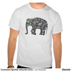 Customize Sparkly colourful silver mosaic Elephant Tshirt