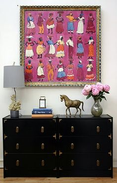 "Ikea Rast cabinets painted black paint with new hardware. Corners from- http://www.hardwareworld.com/Antique-Brass-Decorative-Corner-Visual-Basic-1851-916-x-1--14-inches-pGJXLCL.aspx Pulls from- http://www.chinesebrasshardware.com/Small%20Pulls/ Directions on refinishing- ""Design Manifest"" blog entry 5/5/11"