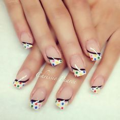 White french manicure with colorful dots and a black rim ♥ Little Girl Nails, Girls Nails, French Manicure Nails, French Nails, Nail Tip Designs, Funky Nails, Hot Nails, Fabulous Nails, Beautiful Nail Art