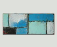 Abstract Painting - Canvas Wall art - BLUE LOTS XL / On canvas / Original Hand Made / Acrylic Painting / Modern Art / Ronald Hunter