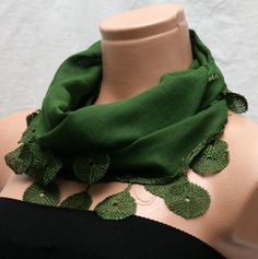 Green Cotton Scarf  by Winsomescarves $12.00