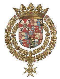Armes de Ludovic de Gonzague-Nevers, chevalier des deux ordres du roi, 1631. -- Les Gonzague régnèrent sur les duchés italiens de Mantoue, de Montferrat, de Guastalla, de Sabbioneta et de Solferino, sur les marquisats de Vescovato, de Luzzara et de Palazzolo, les principautés de Bozzolo et de Castiglione, ainsi que sur les duchés français de Nevers, de Rethel, de Mayenne et la Principauté d'Arches (capitale Charleville). -- Cf. ici: http://gallica.bnf.fr/ark:/12148/btv1b8470172t/f41.item