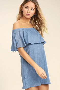 Lulus Exclusive! Slip on the Hello Sunshine Denim Blue Off-the-Shoulder Dress, add a pair of sunnies, and hit the beach! Textured woven fabric creates a feminine flounce below an elasticized, off-the-shoulder neckline. Breezy shift silhouette.