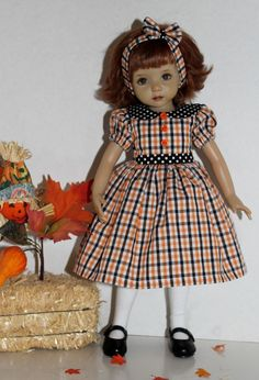 """~*~Halloween Checks & Dots~*~made to fit 13"""" Effner Little Darling~*~"""