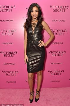 After party glam: Later, she sizzled on the pink carpet as showcased her trim and toned physique in a figure hugging leather dress