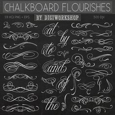 Chalkboard flourishes clip art Chalkboard by DigiWorkshop on Etsy