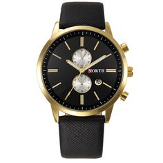 NORTH Man Business Watch Quartz   Genuine Leather Compelet Calendar Casual  Male Sport Wristwatch  Horloges Mannen #Affiliate