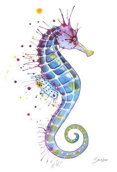 Seahorse: Purple Art Print