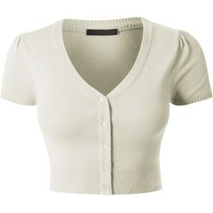 LE3NO Womens Lightweight Fitted Deep V Neck Bolero Cropped Knit... ($18) ❤ liked on Polyvore featuring tops, cardigans, short-sleeve cardigan, white tops, white short sleeve cardigan, knit crop top and fitted crop top