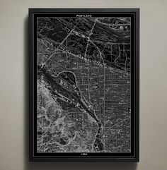 """Portland Map Print, Wall Art for your Home or office Decor. This vintage map of Portland, Oregon details the city structures long before citizens were proudly proclaiming, """"Keep Portland weird!"""" In fact, this map print poster focuses on a simpler time in Portland's history and is a recreation of the city as it appeared in 1954. Each street, bridge, waterway, and landmark is clearly reproduced on high quality cardstock and premium ink so that you can display the quirky city in your home of..."""