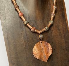 16 inch leopard jasper and copper necklace with copper leaf pendant