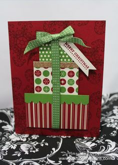 Krafting Kreations: Stack of Christmas Presents would work for birthdays too Scrapbook Christmas Cards, Christmas Card Crafts, Christmas Activities, Xmas Cards, Scrapbook Cards, Christmas Presents, Holiday Cards, Scrapbooking, Christmas Ideas