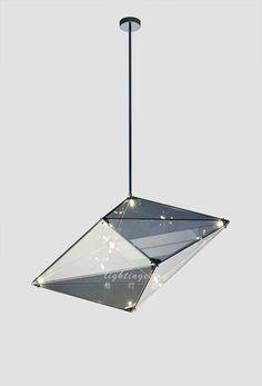 Modern pendant lamp【最灯饰】3月新品现代艺术简约玻璃酒店会所餐厅高档钻石吊灯