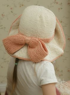 Knitting Pattern for Solei Floppy Brim Hat - This baby hat with a bow also comes with toddler, child, and adult sizes