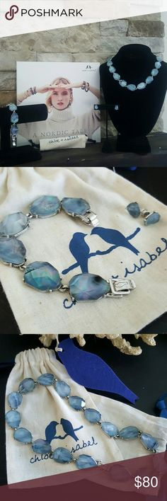 Chloe & Isabel Necklace, Bracelet & Earrings Dress up your denim days with this beautiful Northern Mist 3-piece set featuring blue mother-of-pearl inlay and antique silver-plated closures and posts. Chloe + Isabel Jewelry