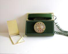 Mid Century Modern Telephone Rotary Dial Western Electric Mod Executive Desk Phone Avocado Green Gold Metal. $150.00, via Etsy.
