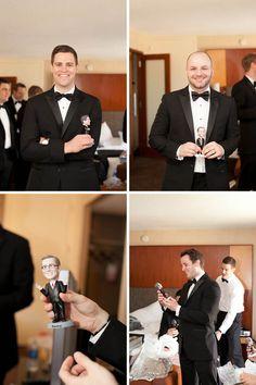 Personalized bobble head look-a-likes. Such a fun groomsmen gift idea!