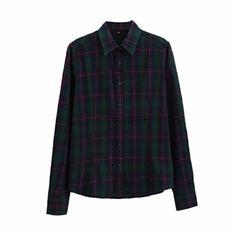VESNIBA Women Long Sleeve Tops Plaid Shirt Blouse Streetwear (3XL, Green) - Brought to you by Avarsha.com