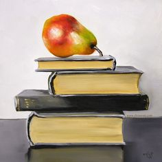 Books and apple.. by artist Christopher Stott