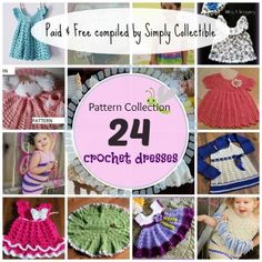 24 Baby & Toddler Girls Dress crochet pattern collection brought to you by SimplyCollectibleCrochet.com You can even modify the colors for the Christmas party.