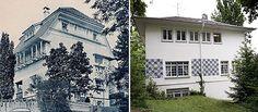 Olbrich-Haus in Darmstadt  Mit Smartphone-App in die Vergangenheit    Das Haus Olbrich, 1944 zerstört und in den 50er Jahren eilig wiederaufgebaut, wirkt klobig inmitten seiner eleganten Jugendstil-Nachbarn auf der Mathildenhöhe. Wie es früher ausgesehen hat, können Smartphone-Besitzer jetzt ganz leicht sehen.