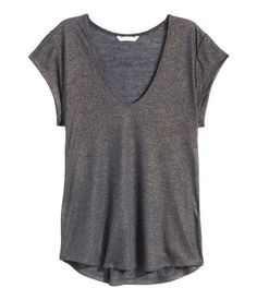 V-neck Top, $12.99 #h&m (I like the color of this one, and I like the metallic sheen.)