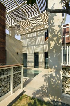 screens and soft enclosures are cool, especially with unadulterated materials: Kindred House (India) by Anagram Architects.