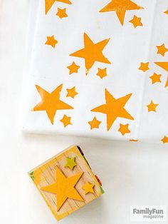 Party Pillow: Have sweet dreams snoozing on a custom keepsake. First, create stamps by pressing adhesive craft-foam shapes (handmade or store-bought) onto wood blocks. After applying a thin coat of paint with a foam brush to the stamps, use them to decorate prewashed pillowcases (slip some cardboard inside to prevent bleed-through).