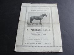 "For your consideration is a Lovely Vintage (4) Pages Brochure-Folder - In the Stud Season of 1902,The Highly Trotting Stallion- ""St. Michael 34330"""