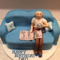 Old man chilling 80th birthday cake x