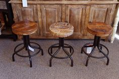 Adjustable Real Wood & Iron Stools Rustic Wood Furniture, Online Furniture Stores, Real Wood, Foot Rest, Bar Stools, Counter, Solid Wood, Upholstery, Chairs