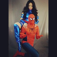 Pin for Later: 60 Costume Ideas For Couples Who Love to Geek Out Together Psylocke and Spider-Man