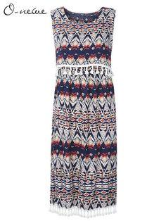 Casual Women Printed Tassel Stitching Fake Two-piece Dress