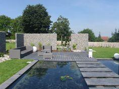 bassin contemporains passage sur l' eau en palis quartzite, menant a une terrasse