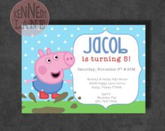 George Pig, Peppa Pig Boy Birthday Party Invitations