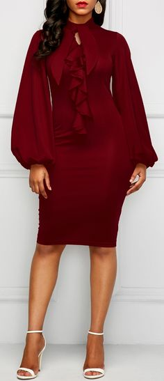 Lantern Sleeve Cutout Wine Red Ruffle Dress #christmas #christmasgifts #dress #dresses #winter #fall