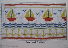 Smocking Plate, Boats and Anchors , Children's Corner