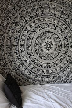 Black & White Gypsy Wildflower Mandala Tapestry
