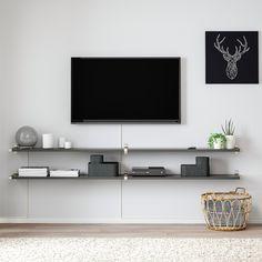 BERGSHULT / GRANHULT Wall shelf combination - dark gray, nickel plated - IKEA